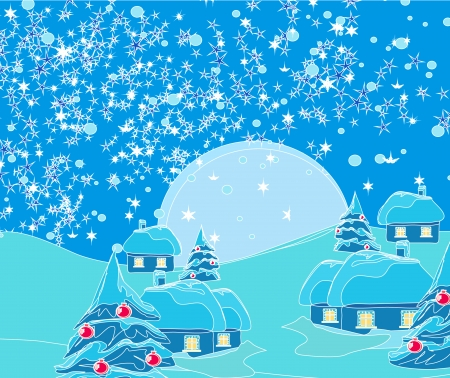 Christmas night in the village card  Stock Vector - 14960146
