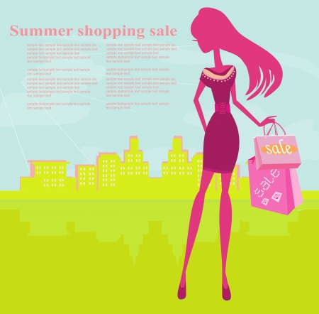 shoptalk: fashion silhouettes girl Shopping in the city