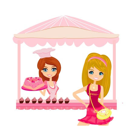 illustration of a woman buying cake at a bakery store  Vector
