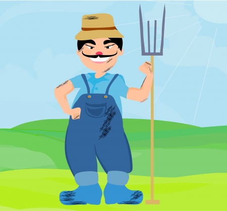Cartoon Farmer Character  Stock Vector - 14993159