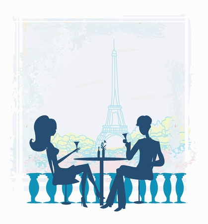 Young couple flirt and drink champagne in Paris  Illustration