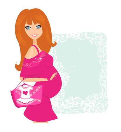 awaiting: Hermosa mujer embarazada en la compra de su nuevo beb�