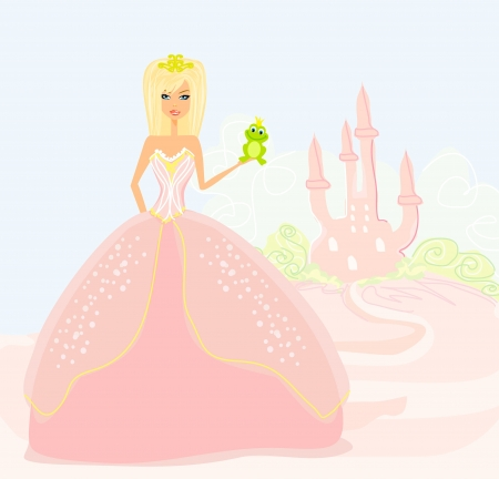 Beautiful young princess holding a big green frog  Stock Vector - 15029897
