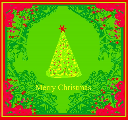 Abstract christmas tree card  Stock Vector - 15029887