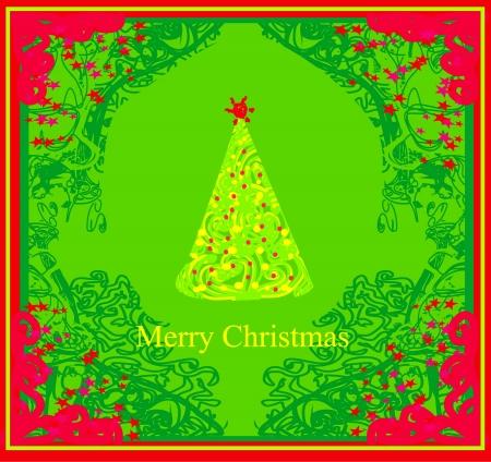 Abstract christmas tree card Stock Vector - 15029887