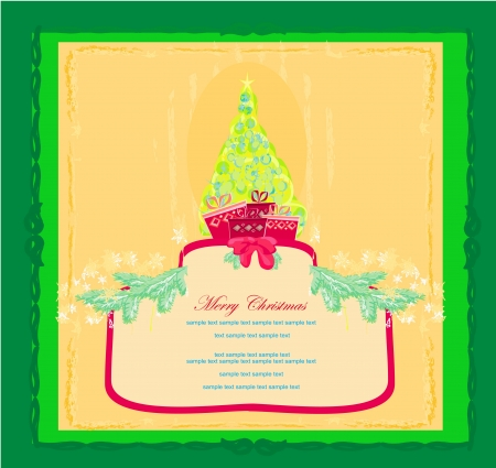 Abstract christmas tree card  Stock Vector - 15029901