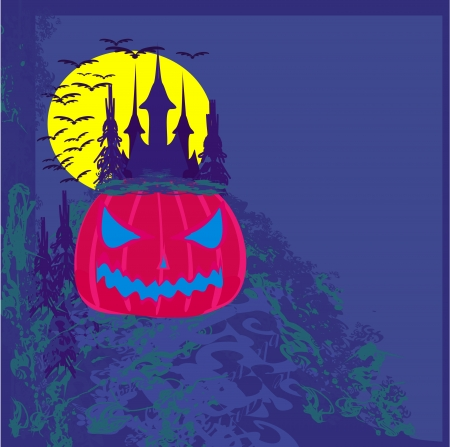 spook:  grungy Halloween background with haunted house and pumpkin