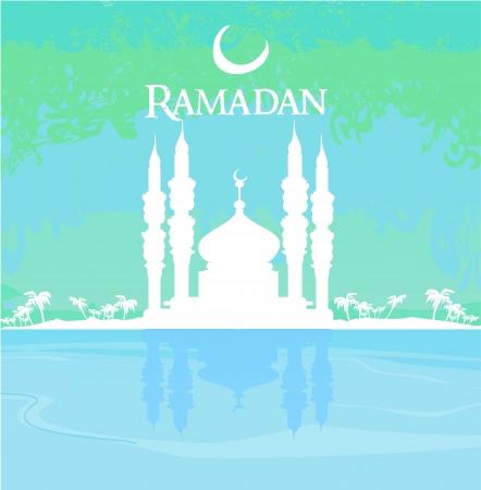 Ramadan background - mosque silhouette card Stock Vector - 15029911