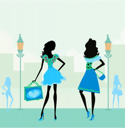 female silhouette:  fashion silhouettes girls Shopping in the city