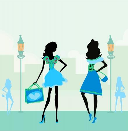 bailarines silueta: moda siluetas de muchachas de compras en la ciudad