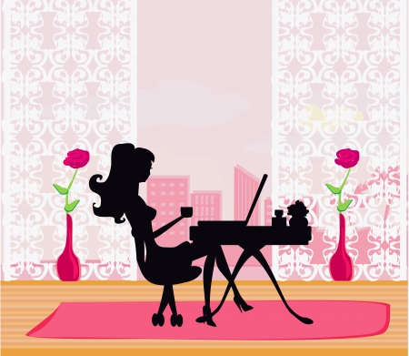 laptop silhouette:  Online shopping - young smiling woman sitting with laptop comput