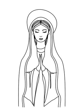 virgen maria: Bienaventurada Virgen Mar�a en negro y blanco de dibujo de contorno Vectores
