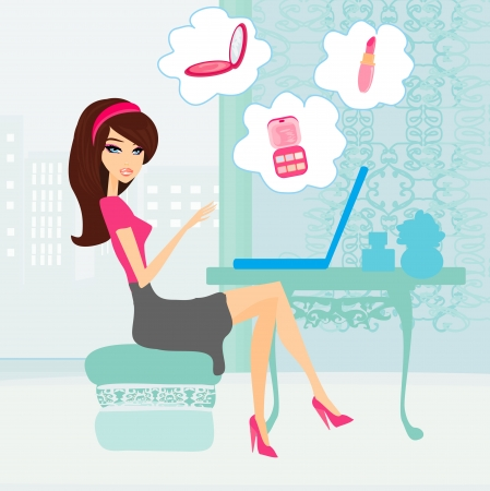 Online shopping girl  Vector