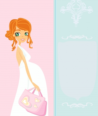 Beautiful pregnant woman on shopping for her new baby Stock Vector - 15093081