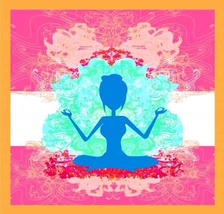 Silhouette of a Girl in Yoga pose  Stock Vector - 15093095