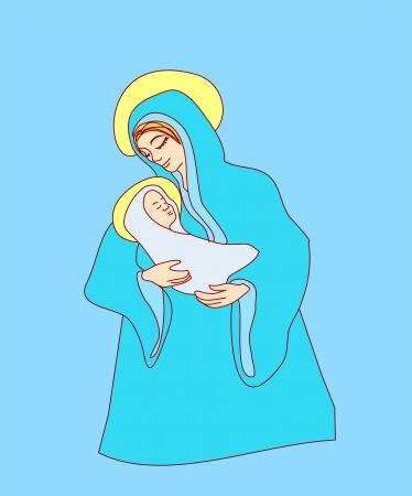 vierge marie: Vierge et l'enfant Jésus Illustration