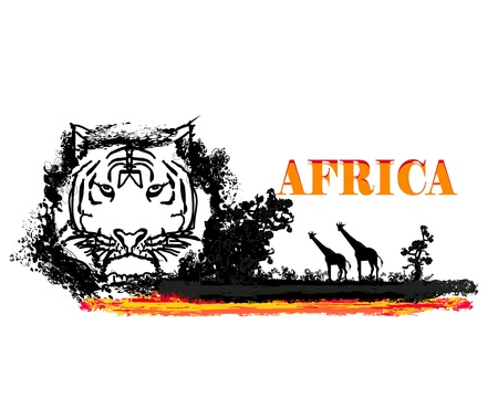 grunge background with African fauna and flora  Stock Vector - 15136398