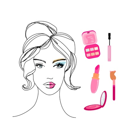 make up applying: beautiful girl wearing half face makeup  Illustration