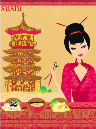 beautiful Asian girl enjoy sushi - menu template  Vector