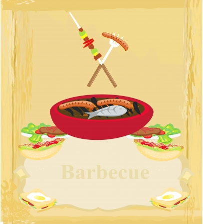 grilled vegetables:  Barbecue Party Invitation  Illustration