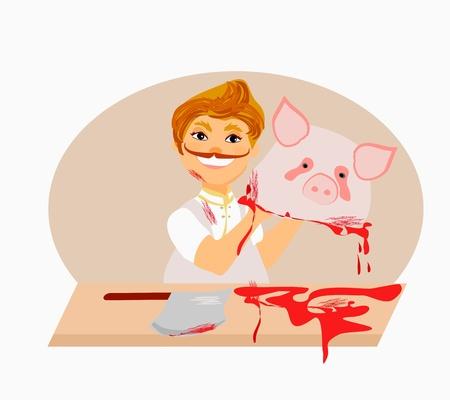 roast pork:  butcher - cartoon  Illustration