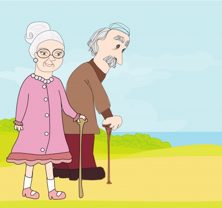 couples outdoors: elderly couple
