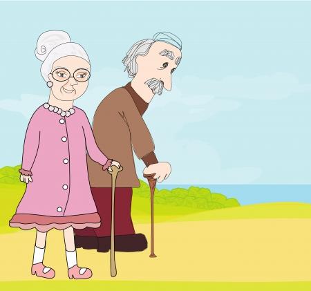 man falling: elderly couple