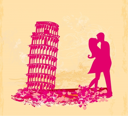 Young Couple of Tourists in Pisa Stock Vector - 15136424