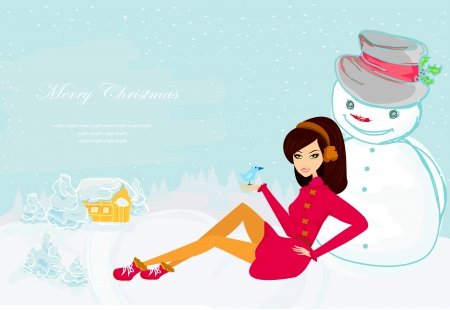 beautiful girl and snowman card  Illustration