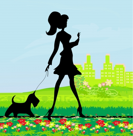Pretty girl walking the dog  Stock Vector - 15498200