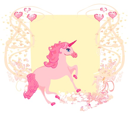 Illustration of beautiful pink Unicorn   Vector