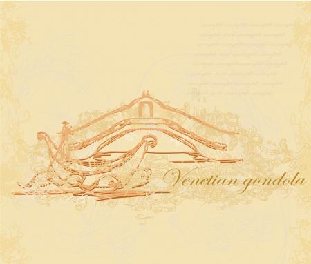 waterway:  Venetian gondola retro style card  illustration
