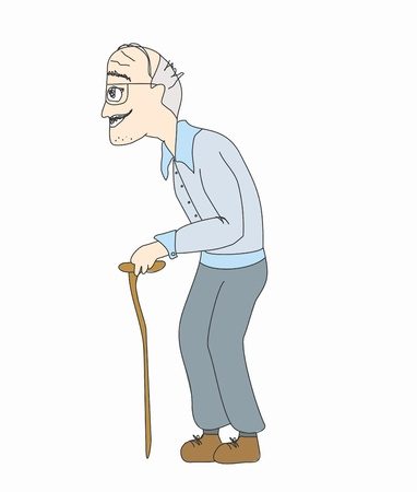 hombre viejo: El viejo sobre un fondo blanco, vector