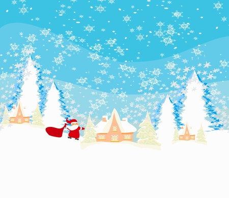Happy New year card with Santa and winter landscape  Vector