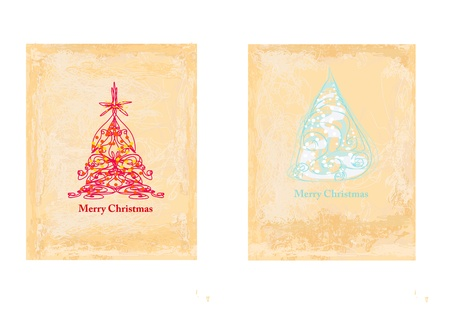 Abstract christmas tree card set Stock Vector - 15503507