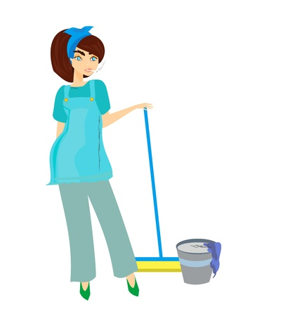 cleaning woman: cartoon character housemaid with broom vector illustration, isolated on white background  Illustration