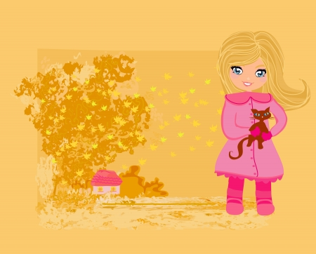 sweet girl in autumn park and her cat  Vector