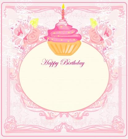illustration of cute retro cupcakes card - Happy Birthday Card  Illustration