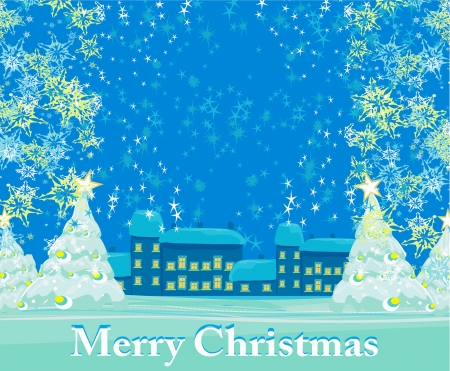 Christmas night in the village card  Vector