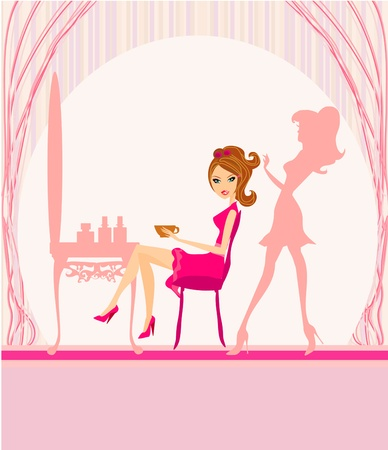 Vector illustration of the beautiful woman in hairdressing salon  Stock Vector - 15304359