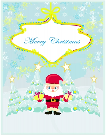 Happy New year card with Santa and winter landscape Stock Vector - 15304329