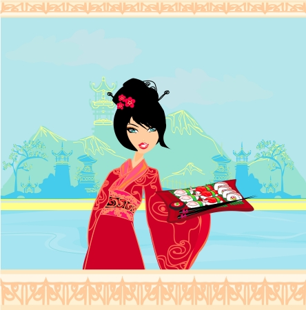 beautiful Asian girl enjoy sushi - menu template  Illustration