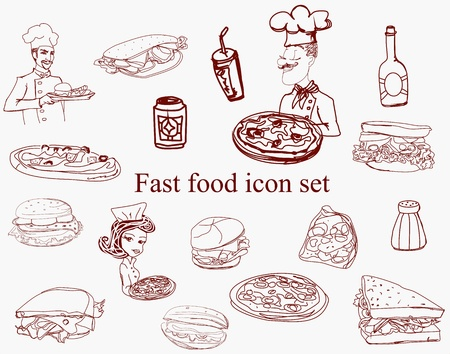 Food Icon doodles Set  Vector