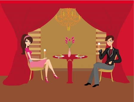 fine dining:  Young couple flirt and drink champagne  Illustration