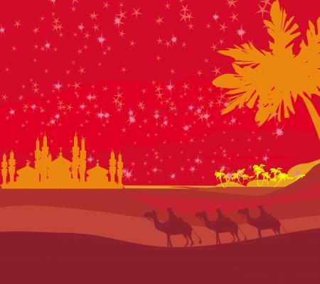 Classic three magic scene and shining star of Bethlehem, Stock Vector - 15351141