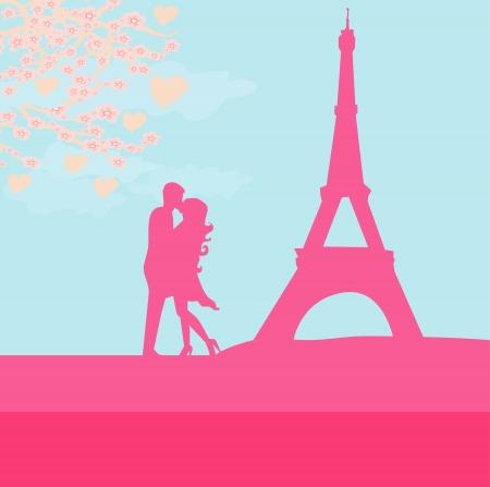 Romantic couple in Paris kissing near the Eiffel Tower Vector Illustration