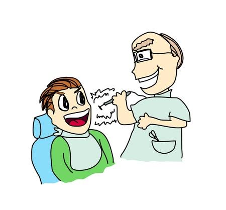 decayed teeth: Vector de dibujos animados de dentista con el paciente