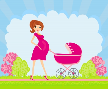 pregnancy exercise:  beautiful pregnant woman pushing a stroller  Illustration