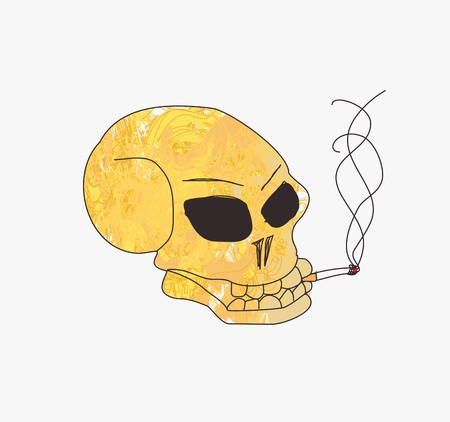 grunge skull smoke a cigarette  Stock Vector - 15411986