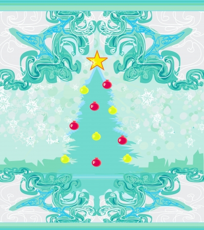Abstract christmas tree card  Vector